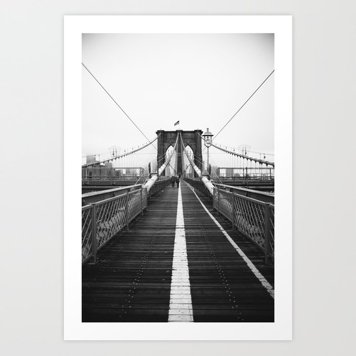 Brooklyn Bridge Black and White Art Print
