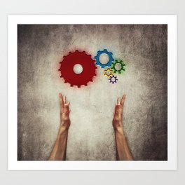 hand holding cogs Art Print