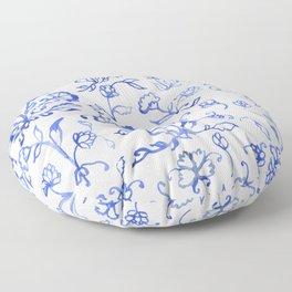 Porcelain Floral in Blue Floor Pillow
