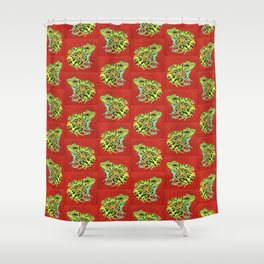 Spotted Frog Friend Pattern Shower Curtain