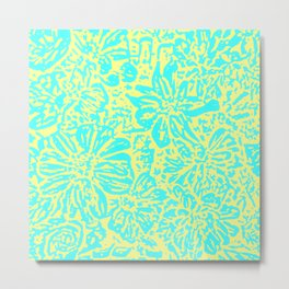 Marigold Lino Cut, Turquoise And Yellow Metal Print