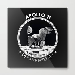 Apollo 11-50th Anniversary,Logo,Lunar Landing,Moon.Space 2bw Metal Print