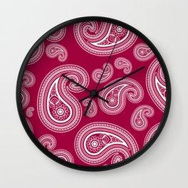 Burgundy paisleys Wall Clock
