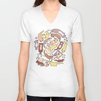 otters V-neck T-shirts featuring Adorable Otter Swirl by KiraKiraDoodles