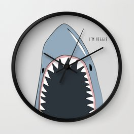 Veggie Shark / Poster, scandinavian, art, art print, drawings, paintings, sea, fish, shark, water Wall Clock