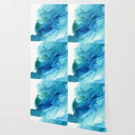 Emerald Sea Waves - Abstract Ombre Flowing Ink Wallpaper