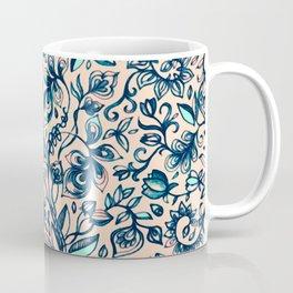 Teal Garden - floral doodle pattern in cream & navy blue Coffee Mug