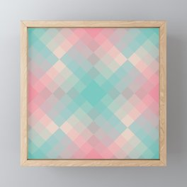 Gradient pixel design teal & pink Framed Mini Art Print