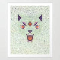 cosmic Art Prints featuring Cosmic Cat by LordofMasks