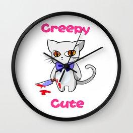 Creepy Cute Cat Kitten Anime Horror Kawaii Gift Wall Clock
