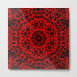 Vibrant red and black wattle mandala Metal Print