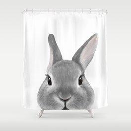 Netherland Dwarf rabbit Grey, illustration original painting print Shower Curtain
