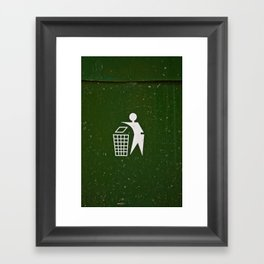 Trash - Put here please! Framed Art Print