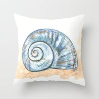 shell Throw Pillows featuring Shell by Pendientera