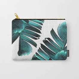 Banana Leaf - Tropical Leaf Print - Botanical Art - Modern Abstract - Blue, Navy, Teal Carry-All Pouch