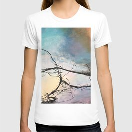Heaven and Hell Abstract Painting by Jodi Tomer Cloudy Painting Sticks T-shirt