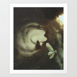 """When the owl sings, the night is silent. (Quand le hibou chante, La nuit est silence)."" Art Print"