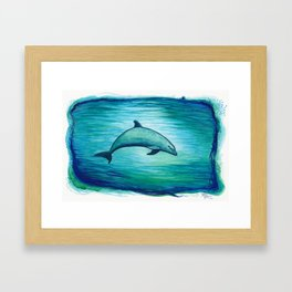 """Indigo Lagoon"" by Amber Marine ~ Watercolor Dolphin Painting, (Copyright 2015) Framed Art Print"