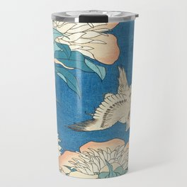 Japanese Flowers Turquoise Peach Travel Mug