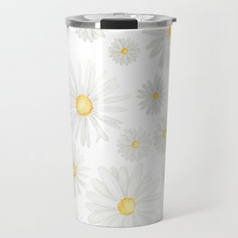 white daisy pattern watercolor Travel Mug