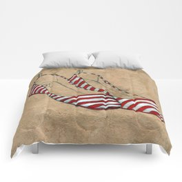 Red and white stripes Comforters