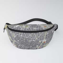 Madrid city map engraving Fanny Pack