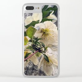 Beautiful White Clematis Flowers Hanging Over a Fence Clear iPhone Case