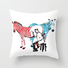 Zebra Painter print Throw Pillow