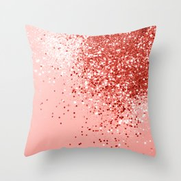 Sparkling Living Coral Lady Glitter #1 #shiny #decor #art #society6 Throw Pillow