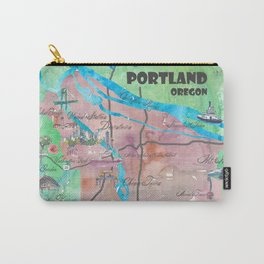 Portland Oregon Travel Poster Map with Touristic Highlights Carry-All Pouch