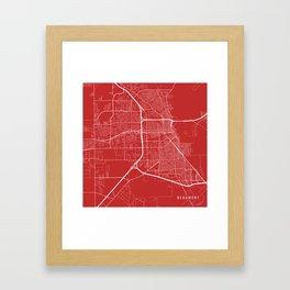 Beaumont Map, USA - Red Framed Art Print