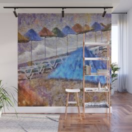 Beach Umbrellas In Impressionist Style Wall Mural