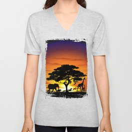 Wild Animals on African Savanna Sunset Unisex V-Neck