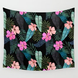 Island Goddess Tropical Black Wall Tapestry