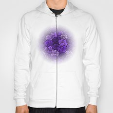 Romantic Purple roses with black outline Hoody