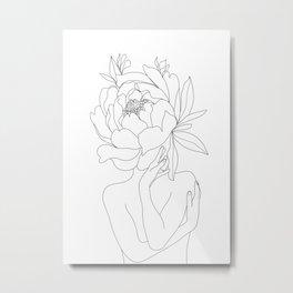 Minimal Line Art Woman Flower Head Metal Print