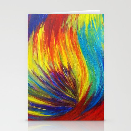 RAINBOW EXPLOSION - Vibrant Smile Happy Colorful Red Bright Blue Sunshine Yellow Abstract Painting  Stationery Cards