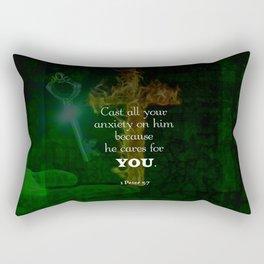 1 Peter 5:7 Uplifting Bible Verses Quote Rectangular Pillow