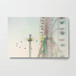a carnival ferris wheel & swings, the last days of summer ... Metal Print