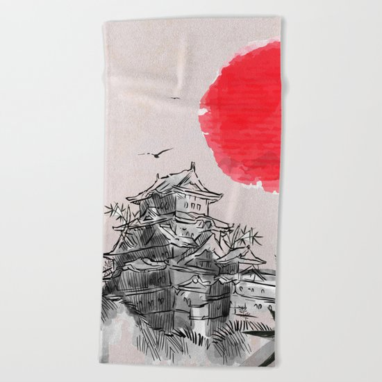 Japanese Landscape Beach Towel