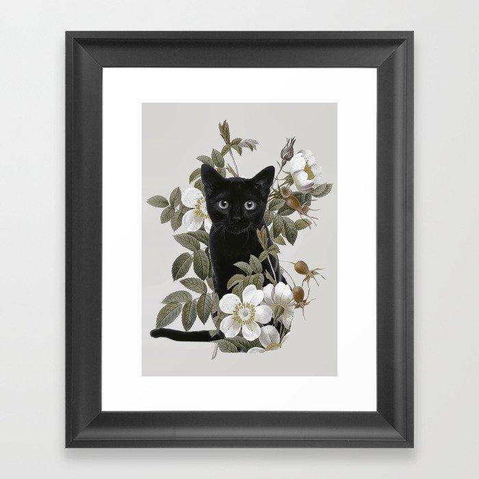 Cat With Flowers Gerahmter Kunstdruck