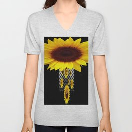 FANCIFUL YELLOW SUNFLOWERS BLACK ART Unisex V-Neck
