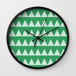 Modern Christmas Dots Triangles in Happy Green Wall Clock