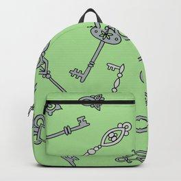 Skeleton Keys Green Backpack