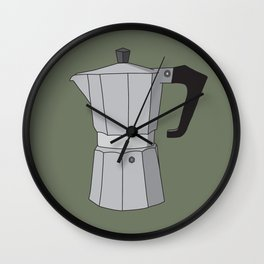 Moka Pot Green Background Wall Clock