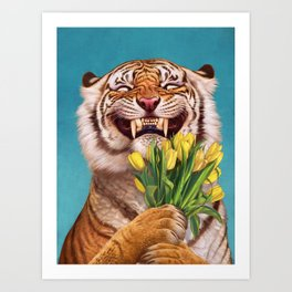 Smiling (shy) Tiger - holding bouquet (tulip) Art Print