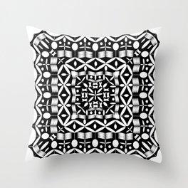 Mandala Square Black & White Throw Pillow