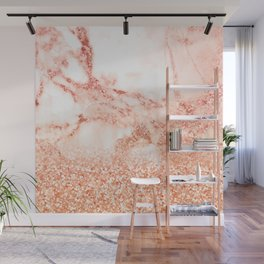 Sparkly Peach Copper Rose Gold Ombre Bohemian Marble Wall Mural
