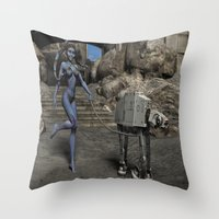 sci fi Throw Pillows featuring Sci-Fi Fantasy  by gypsykissphotography