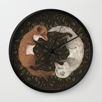 foxes Wall Clocks featuring Foxes by Jessica Roux